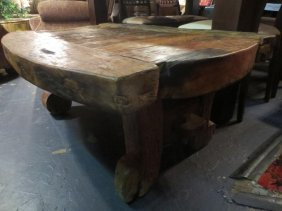 RUSTIC STYLE HEAVY WOOD COFFEE TABLE, APPROX 4'L