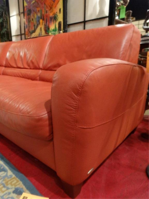 Leather Sectional Sofa By Italsofa Terra Cotta Color Lot 101b
