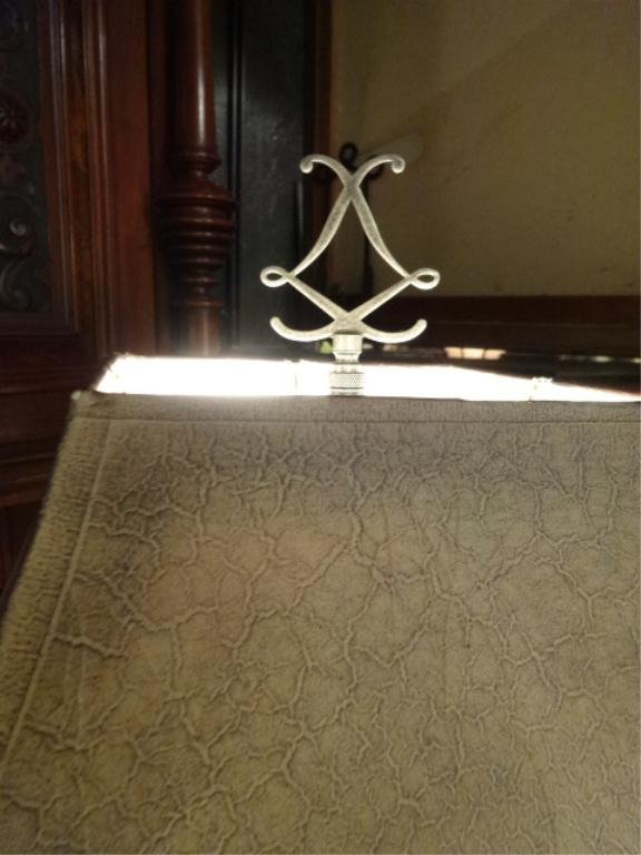 Ornate silver finish floor lamp gold accents approx for Ornate silver floor lamp