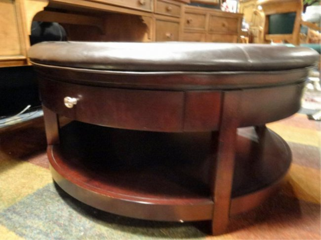 Leather Top Ottoman Coffee Table Dark Finish Brown Lot 67a