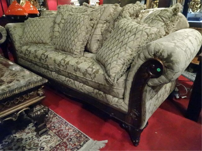 Opulent Sofa And Loveseat Curved Arms Carved Wood Lot 79