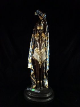 Patinated Bronze Sculpture, Chiparus Style Art Deco