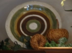 Large Ceramic Platter With Green, Yellow And Brown