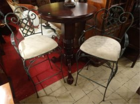 Pair Ornate Metal Barstools, Dark Green Finish, White