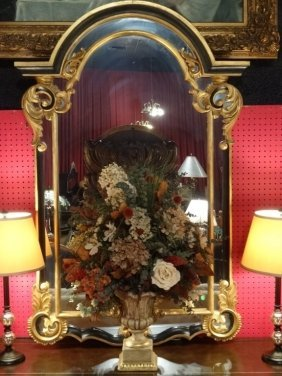 Large Gold Gilt Wood Mirror With Black Enamel Accents,