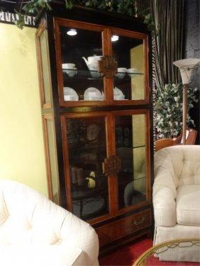 Lighted Asian Style Burl Wood Display Cabinet, Medium