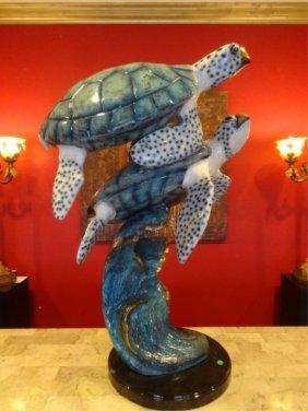 Huge Patinated Bronze Sea Turtle Sculpture, On Marble