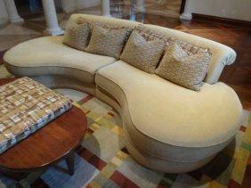 Vladimir Kagan Style 2 Pc Sectional Sofa, Kidney Shaped