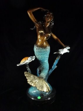Patinated Bronze Sculpture, Mermaid With 2 Sea Turtles,