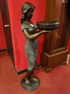 Large 4ft Patinated Bronze Sculpture, Girl With Bowl,