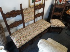 2 Pc Set Antique Settee And Chair, Newly Upholstered
