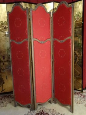 French Style 3 Panel Floor Screen, Red Upholstered