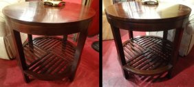 Pair Stickley Round Lamp Tables, Model 7778, Mahogany