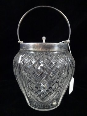 English Crystal Biscuit Jar With Silverplate Lid,