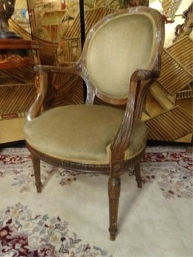 Louis Xvi Style Oval Back Fauteuil Armchair, Carved
