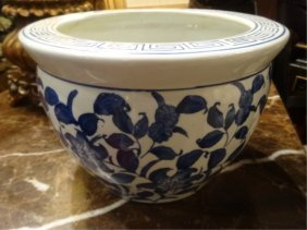 Chinese Blue And White Porcelain Planter, Floral