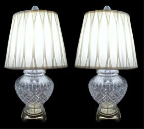 Pair Crystal Table Lamps, Urn Style With Brass Bases,