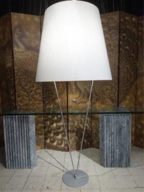 Modern Floor Lamp With Oversize Shade, Gray Finish
