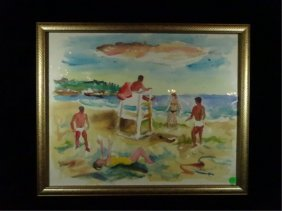 """George Daniell, Watercolor On Heavy Paper, """"fire Island"""