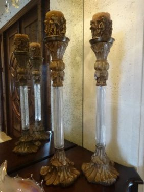 Pair Tall Ornate Glass And Composition Candle Sticks,