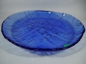 "Blue Glass Shallow Bowl, Approx 13.5"" Diameter"