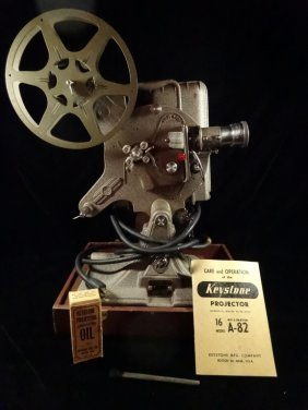 Keystone 16 Mm Movie Projector, Model A-82, With Case