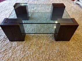 Modern Macassar Ebony And Glass Table, 4 Pc Macassar
