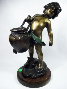 Patinated Bronze Sculpture, Boy With Broken Urn, After
