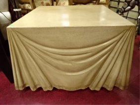 Marge Carson Leather Table With Faux Drapery, Embossed
