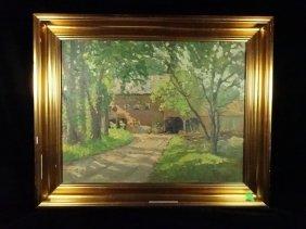 Frank Edward Lloyd Oil On Board Painting, Landscape