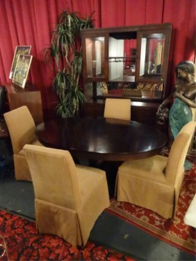 French Art Deco Inspired Dining Table With 4 Chairs,