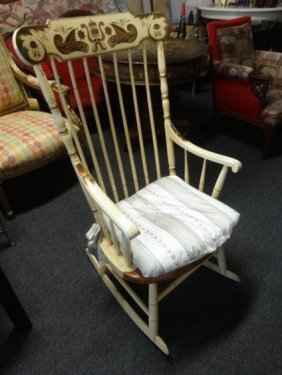 L. Hitchcock Rocker, Ivory/yellow With Stenciled Back,