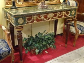 French Empire Style Marble Console, Gilt Metal Ormolu,