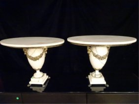 Pair Louis Xv Style Marble Tables, Urn Style Marble