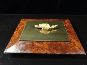 Cigarette Box, Burled Wood With Bronze Duck Top, Approx