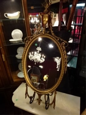 Chippendale Style Oval Gilt Mirror, Wood And Gesso,