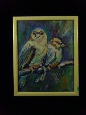 Hugh Miller Painting On Board, 2 Birds, Signed H.