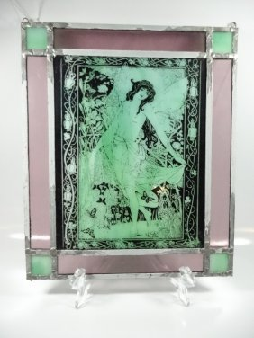 Leaded Glass Panel, Center With Art Deco Style Image Of