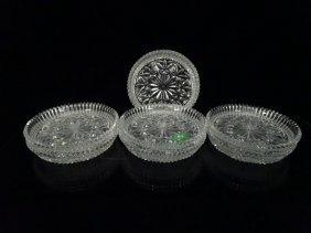 "7 Cut Crystal Coasters, Approx 4"" Diameter"