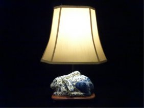 Chinese Blue And White Porcelain Rabbit Lamp, On Wood