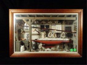 "Nautical Theme Diorama, Framed Size Approx 14"" X 21"""