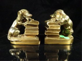 """Pair Dachshund Bookends, Approx 5""""h"""