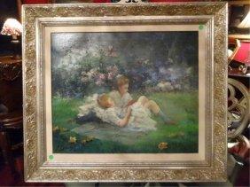 G. Dubois Signed Oil On Canvas Painting, Garden Scene