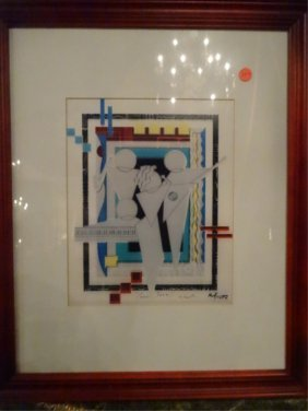 Marvin Murf Murphy Signed Lithograph, Abstract Figures