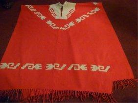 Woven Wool Native American Poncho, Orange And Ivory,