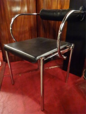 Modern Chrome And Leather Armchair, Black Leather Seat