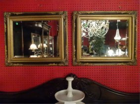 Pair Ornate Gold And Black Frame Mirrors, Excellent