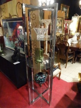1970's Chrome And Glass Etagere, Round Glass Shelves,