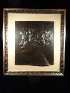 Bronze Plaque, Bas Relief Profile Of A Young Boy, No