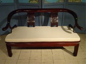 Chinese Rosewood Loveseat Settee, With Carved Relief
